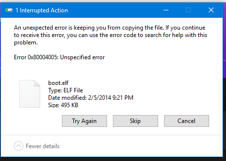 Error 0x80004005 when trying to extract ELF file on 4 0bc | Brawl